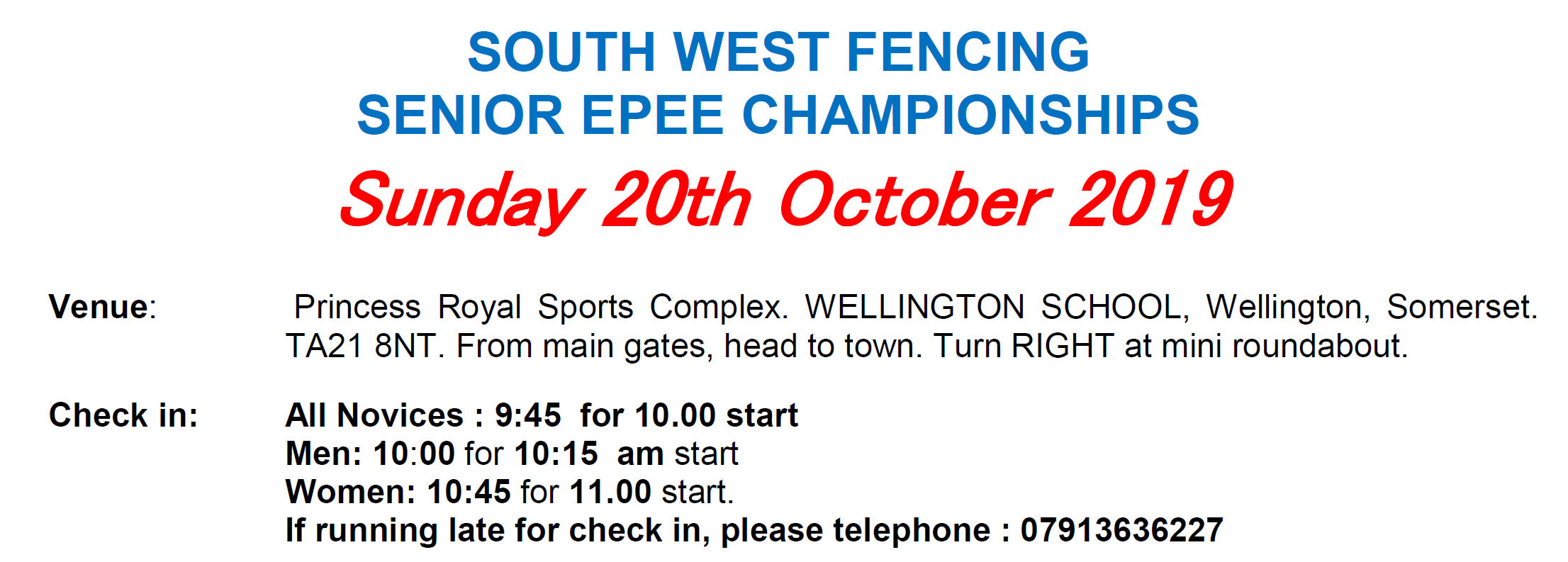 South West Senior Epee 2019